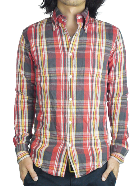"Battalion WRINKLES CHECK SHIRT ""J"" RED"