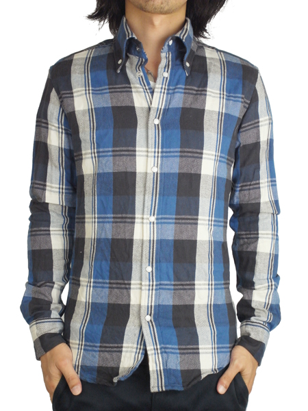 "Battalion WRINKLES CHECK SHIRT ""J"" BLUE"