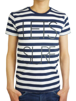 "Rolland berry S/S STRIPE Tee ""LET'S SURF""  WHITE/NAVY"