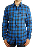 MARBLES CUT OFF FLANNEL SHIRT BLUE