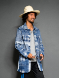 SEVESKIG FAKE PATCH WORK DENIM SHOP COAT
