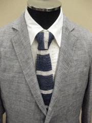 【送料無料】 ROYAL HEM Cotton/Linen Heather Border Knit Tie