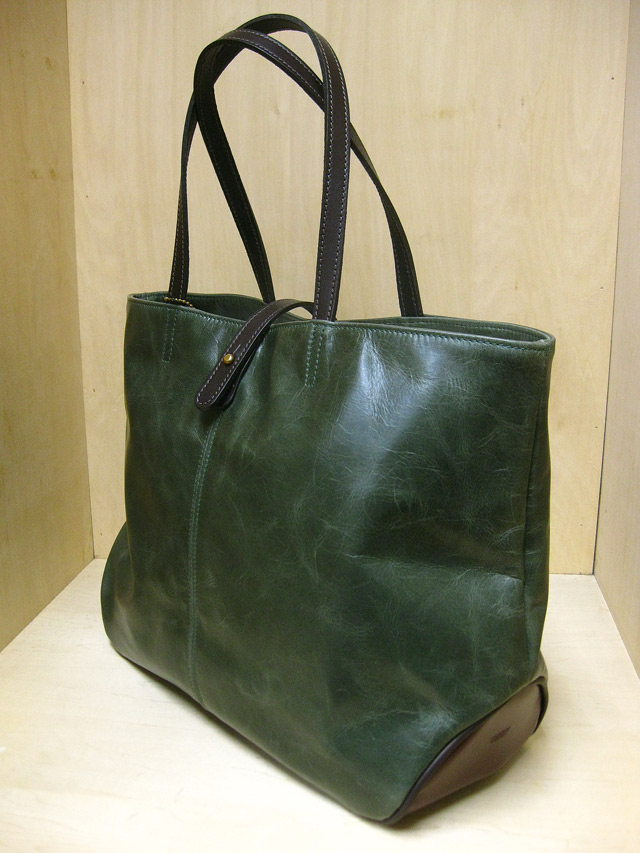 "TUSTING Shoe Leather 2Tone ""Avon"" Tote /グリーン&パープル(Blood & Thunder別注)"