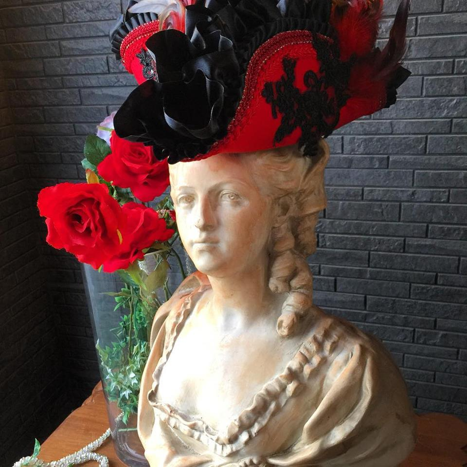 Bloody Roseオリジナル★トリコーン帽子★羽付き帽子 仮面舞踏 情熱のヴェニス