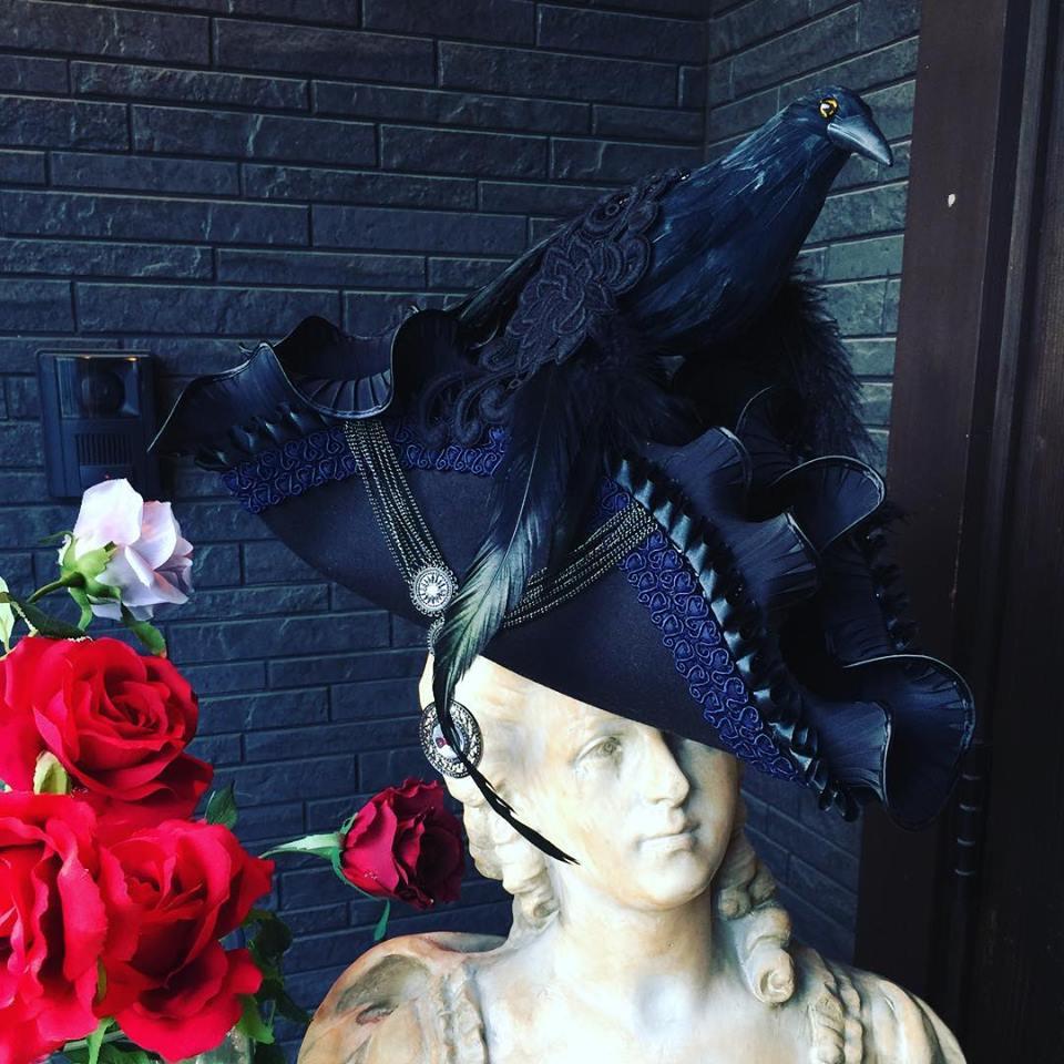 Bloody Roseオリジナル★トリコーン帽子★鴉トリコーン crow