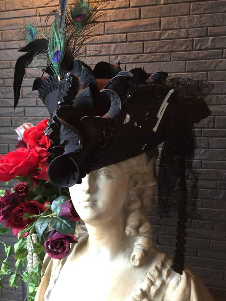 Bloody Roseオリジナル★トリコーン帽子★羽付き帽子 仮面舞踏 ブラックパール