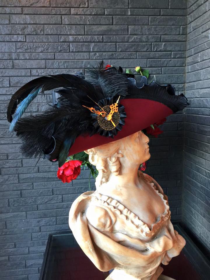 Bloody Roseオリジナル★トリコーン帽子★羽付き帽子 仮面舞踏会 時計モチーフ