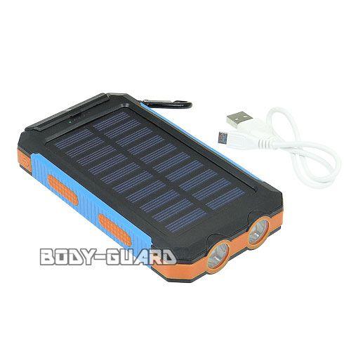 ソーラー式 USB充電池 LEDライト搭載 10000mAh