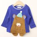 【セール10%OFF】baby Cheer(ベイビーチア) ニット帽くま裏起毛スウェット ブルー 80cm 90cm 100cm