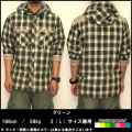 【SALE】【masterground】2012 7分袖チェックフードシャツ きれい目カジュアルストリート