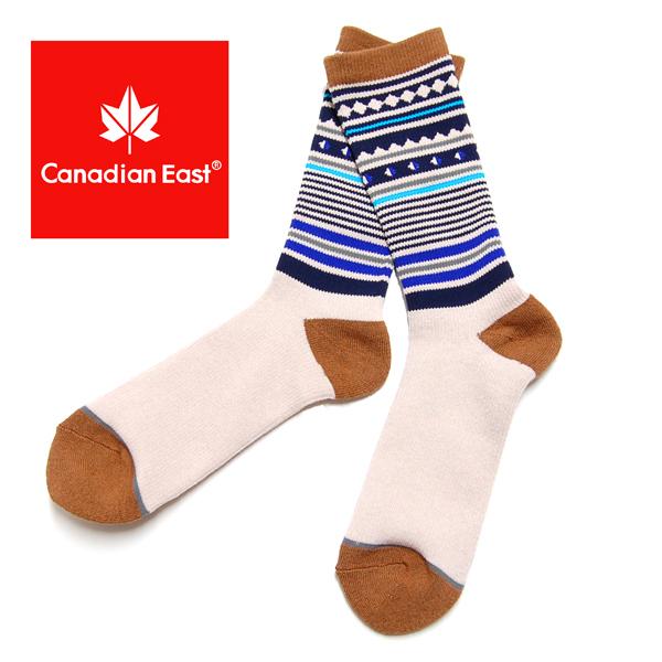 Canadian East カナディアンイースト アウトドア ミドル ソックス メンズ 登山 靴下 25-27cm CEA1031 BE/NV ベージュ/ネイビー