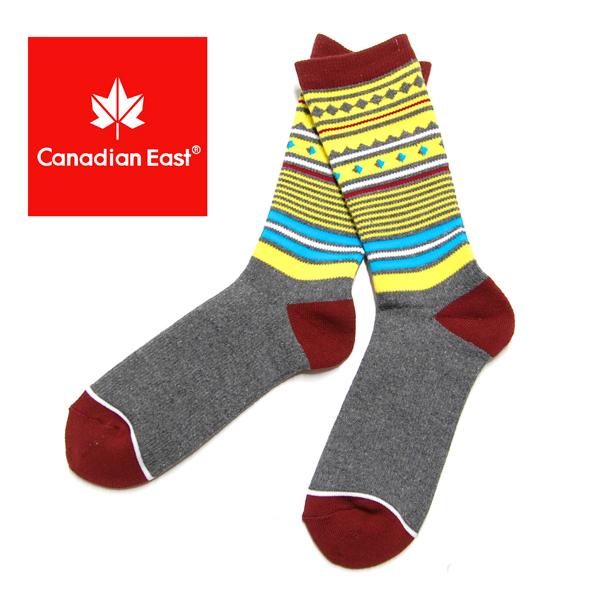 Canadian East カナディアンイースト アウトドア ミドル ソックス メンズ 登山 靴下  25-27cm CEA1031 CH/YL チョコレート/イエロー