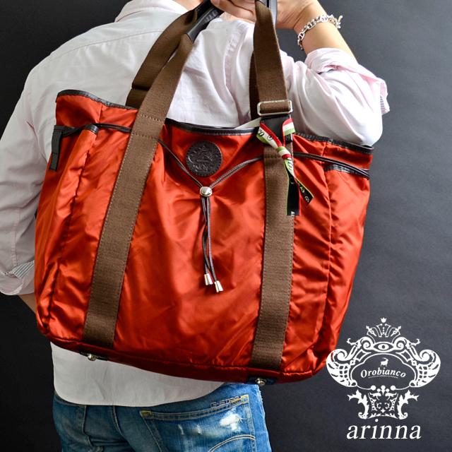 Orobianco オロビアンコ 大型 トートバッグ ARINNA W06/07-A [ナイロン/レザー/イタリア製/ブラック/ビジネス/オレンジ/ブラウン]