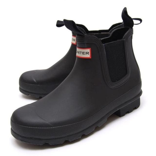 HUNTER ハンター メンズ ブーツ Men's Original Chelsea オリジナル チェルシー HUW25659-BLK [長靴/レインシューズ/ラバー/ブラック/ゴム/ショート/サイドゴア/国内正規販売店]