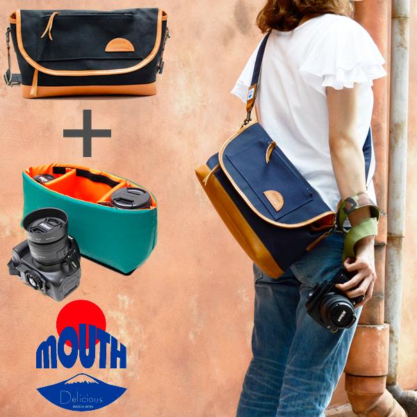 【予約 9月下旬入荷】MOUTH 日本製 マウス カメラバッグ インナー ケースセット Delicious mark-1 デリシャスマーク1 MJS11019 MJC12024-NVOR [おしゃれ/帆布/キャンバス/Made in JAPAN]