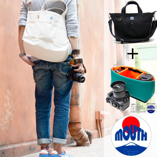 【予約 9月下旬入荷】MOUTH 日本製 カメラバッグ トートバッグとインナーケース 一眼レフ ミラーレス Mサイズ MJT13032+MJC12024-NVOR