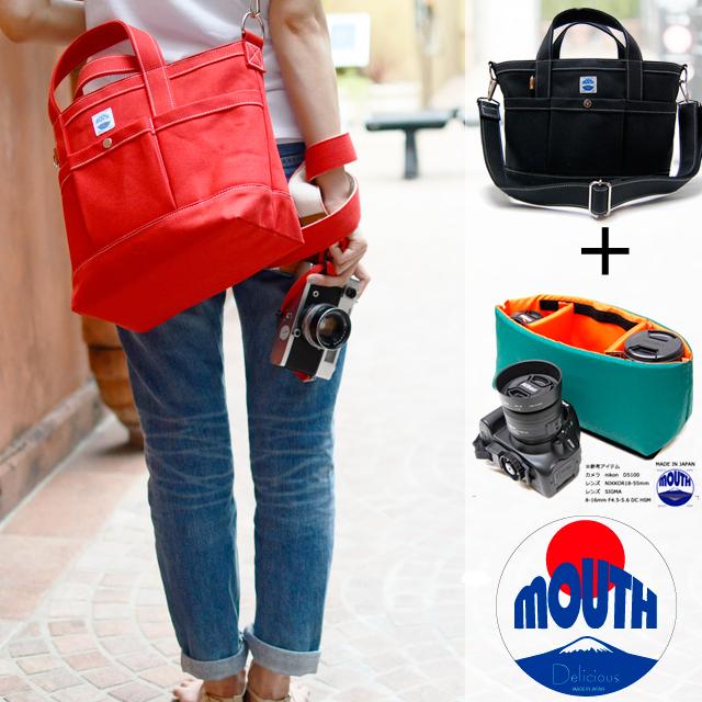 【予約 9月下旬入荷】MOUTH 日本製 カメラバッグ トートバッグとインナーケース 一眼レフ ミラーレス Sサイズ MJT13033+MJC12024-NVOR
