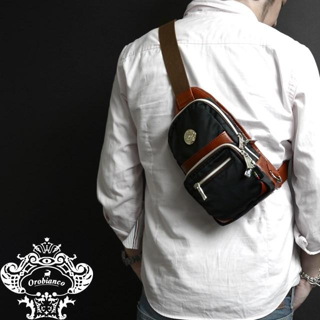 Orobianco オロビアンコ バッグ GIAXO-B クロ/ブルチアート [ブラック/ナイロン/レザー/イタリア製/ボディバッグ/ショルダーバッグ/ワンショルダー]