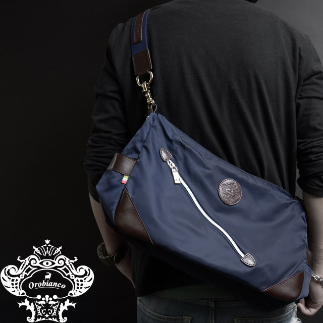 Orobianco オロビアンコ バッグ SILVESTRA DOUBLE ブルー/マロン [ブルー/ナイロン/レザー/イタリア製/ビジネス/ショルダーバッグ]