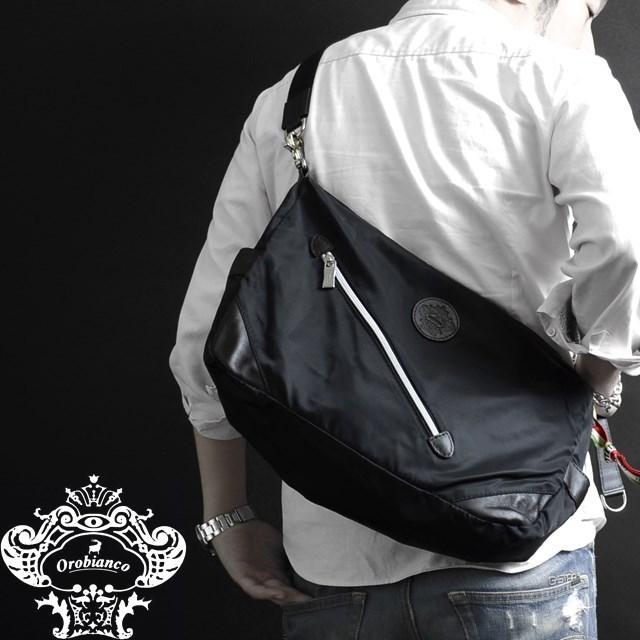 Orobianco オロビアンコ バッグ SILVESTRA DOUBLE クロ/モロ [ブラック/ナイロン/レザー/イタリア製/ビジネス/ショルダーバッグ]
