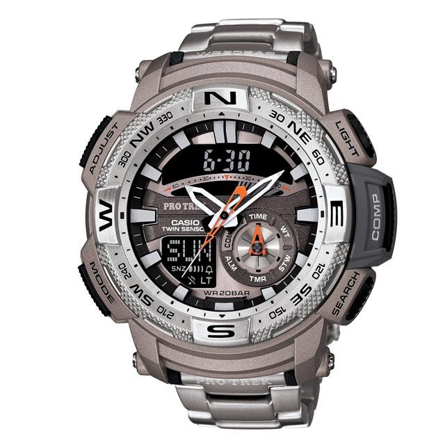 PRO TREK プロトレック CASIO カシオ PRG-280D-7JF 腕時計 登山 ファッション ツインセンサー(方位計測 温度計測) メンズ 腕時計 デジタル ステンレスバンド