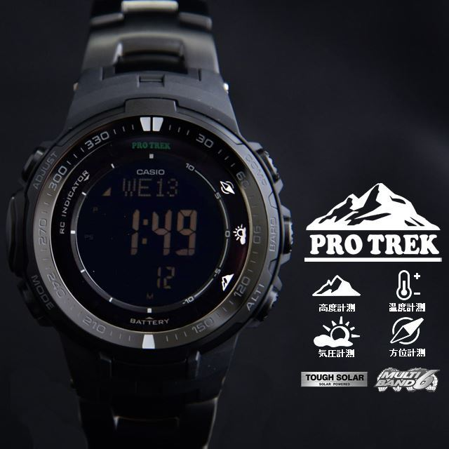 PRO TREK プロトレック CASIO カシオ PRW-3000YT-1JF 腕時計 登山 ファッション ソーラー 電波時計 方位計測 高度計測 気圧計測 温度計測 トリプルセンサー メンズ 腕時計 デジタル チタンバンド