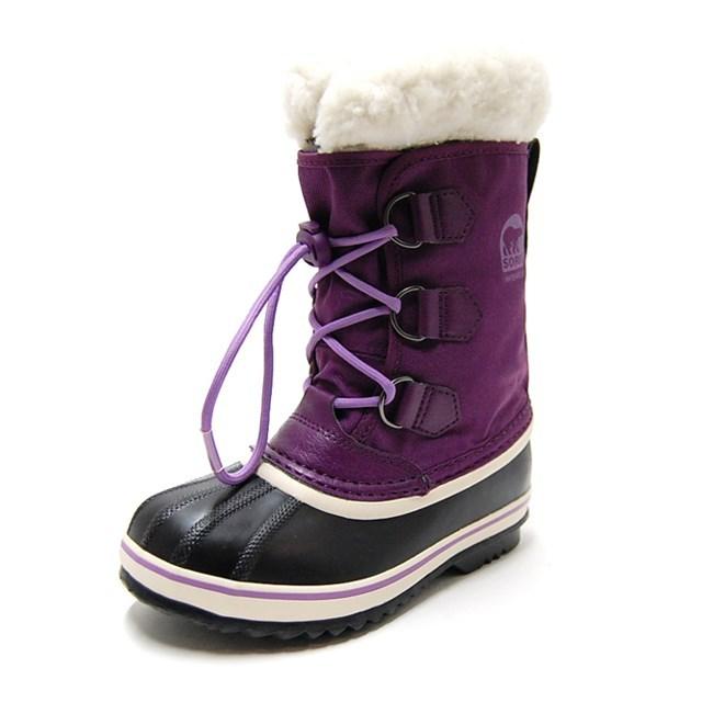SOREL ソレル キッズ ブーツ YOOT PAC NYLON ユートパックナイロン GLOXINIA,BLACK NY1785-505 [ウィンターブーツ/パープル/ボア/防寒/防水/雪/長靴/国内正規販売店]