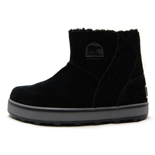 SOREL ソレル レディース ブーツ GLACY SHORT グレイシーショート BLACK,SHARK LL5195-010 ブラック/ウィンターブーツ/ショートブーツ/インヒール/ボア/スエード/防寒/防水/雪国/国内正規販売店/雪かき