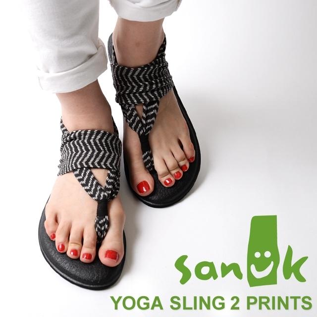 Sanuk サヌーク レディース サンダル YOGA SLING 2 PRINTS ヨガスリング2 プリンツ BLACK/NATURAL CONGO SWS10535-BNCN [ブラック/ストラップ/ヨガマット/国内正規販売店/トライバル]