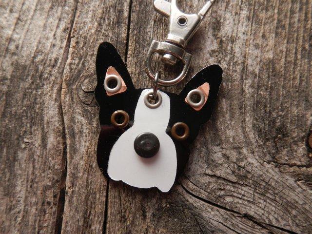 [残り5点]レターパックOK / ハンドメイドの犬の顔キーホルダー/ピアス Pooch Tags / Made in USA