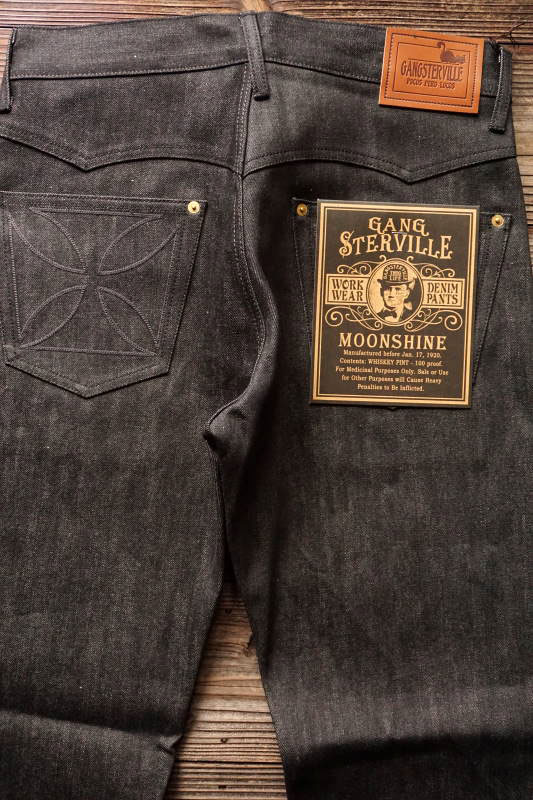 "GANGSTERVILLE THUG - DENIM ""IRONCROSS"" SLIM ※BLACK RIGID BLACK"