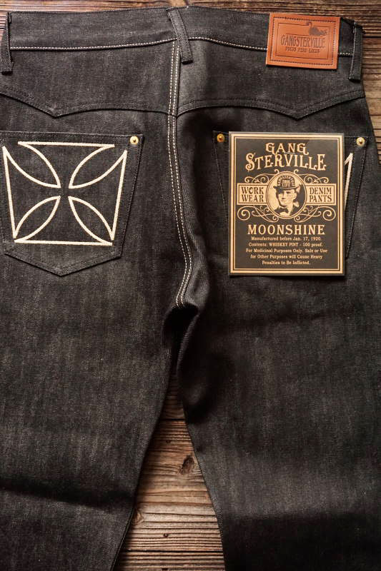 "GANGSTERVILLE THUG - DENIM ""IRONCROSS"" SLIM ※BLACK RIGID IVORY"