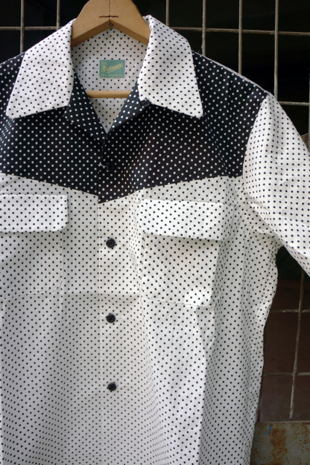 "Delinquent Bros ""CREAP DOT"" OPEN COLLAR SHIRTS WHITE"