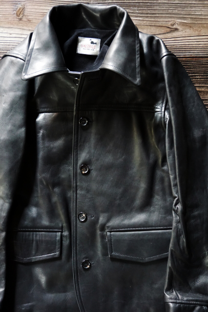 GANGSTERVILLE 30'S CAR COAT - HORSE HIDE BLACK