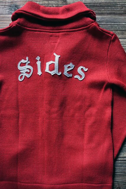 "Delinquent Bros ""SIDES"" SHAWL COLLAR KNIT BURGUNDY"