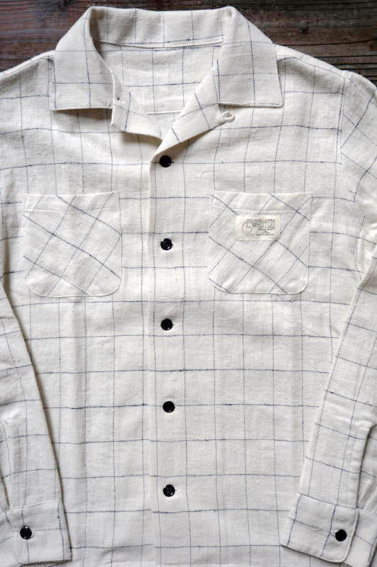 5 WHISTLE OPEN COLLAR PLAID SHIRT WHITE