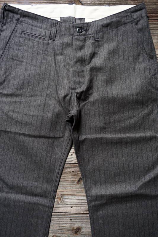 5 WHISTLE CHAMBRAY STRIPE PANTS GRAY