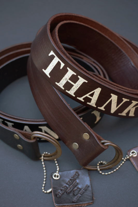 "GLAD HAND GH DOUBLE RING - BELT ""LETTER"" THANK YOU LOVE"
