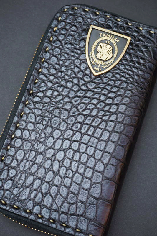 B.S.M.G. B.O. Zip Wallet BLK CROCO BRS SHIELD