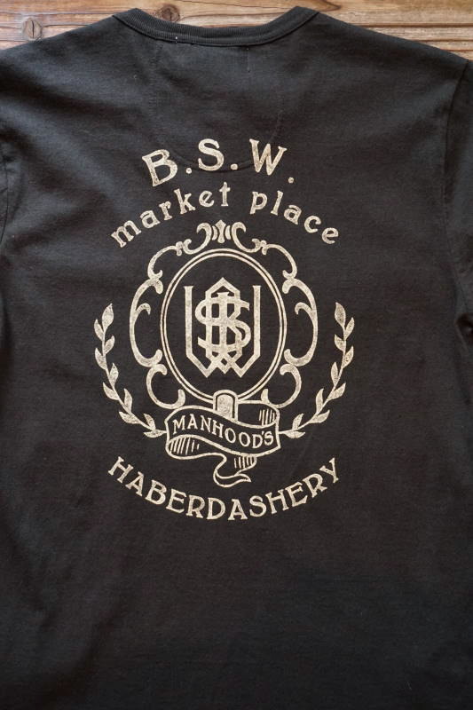GLAD HAND & Co. × B.S.W. market place Limited Edition STANDARD HENRY POCKET L/S T-SHIRTS BLACK