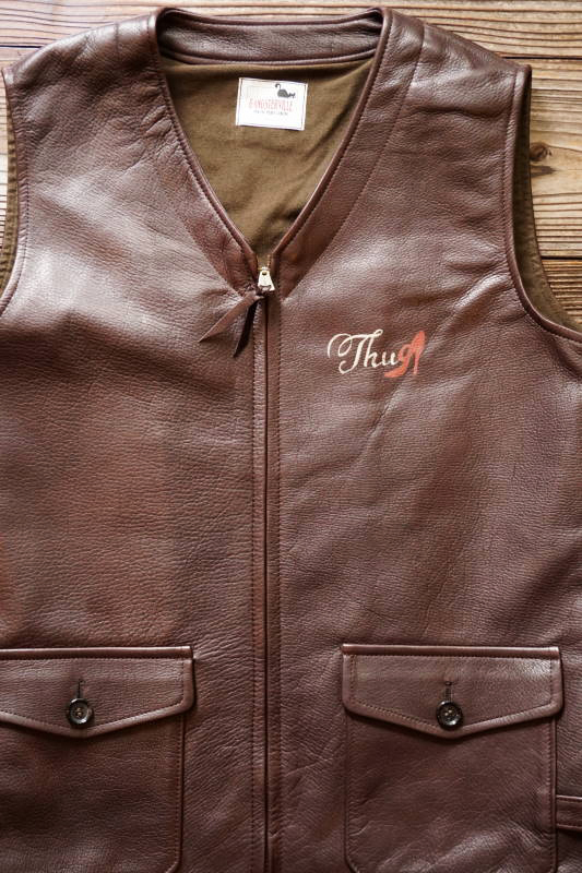 "GANGSTERVILLE THUG - VEST ""COW HIDE"" BROWN"