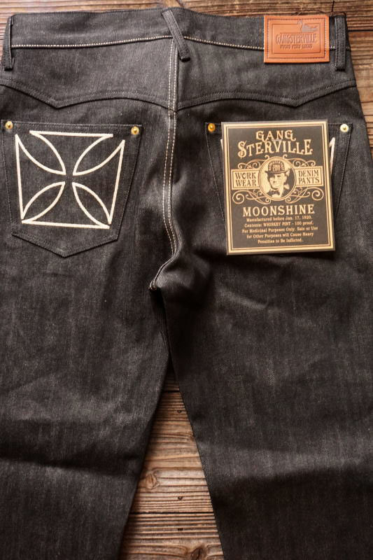 "GANGSTERVILLE THUG - DENIM ""IRONCROSS"" ※BLACK RIGID IVORY"
