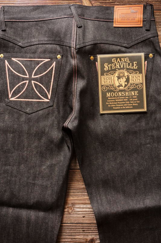 "GANGSTERVILLE THUG - DENIM ""IRONCROSS"" ※BLACK RIGID PINK"