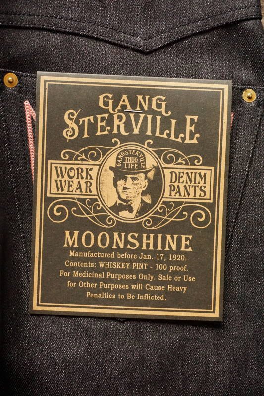 "GANGSTERVILLE THUG - DENIM ""IRONCROSS"" SLIM ※BLACK RIGID PINK"