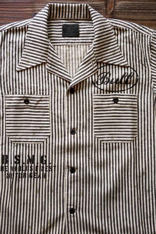 B.S.M.G. STRIPE WORK - S/S SHIRTS BLACK