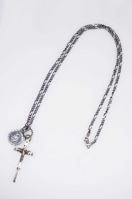 galcia 18NT-BT03C001SB : PENDANT-TOP CROSS × PENDANT HEAD / 聖ユダとイエスの御心 CHAIN SET