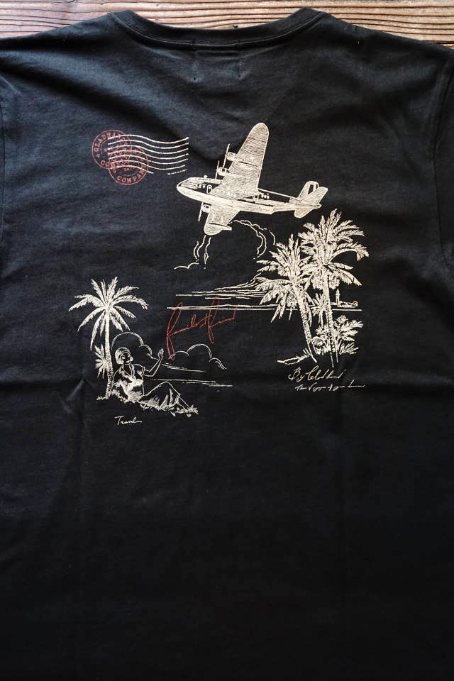 BY GLAD HAND POSTAL FLIGHT - V NECK S/S T-SHIRTS BLACK