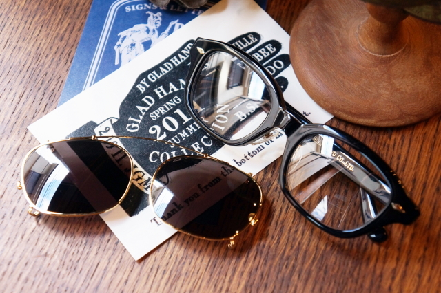 "GLAD HAND×丹羽雅彦 J-IMMY & CLIP ON GLASSES ""GOLD"" BLK/BLK"