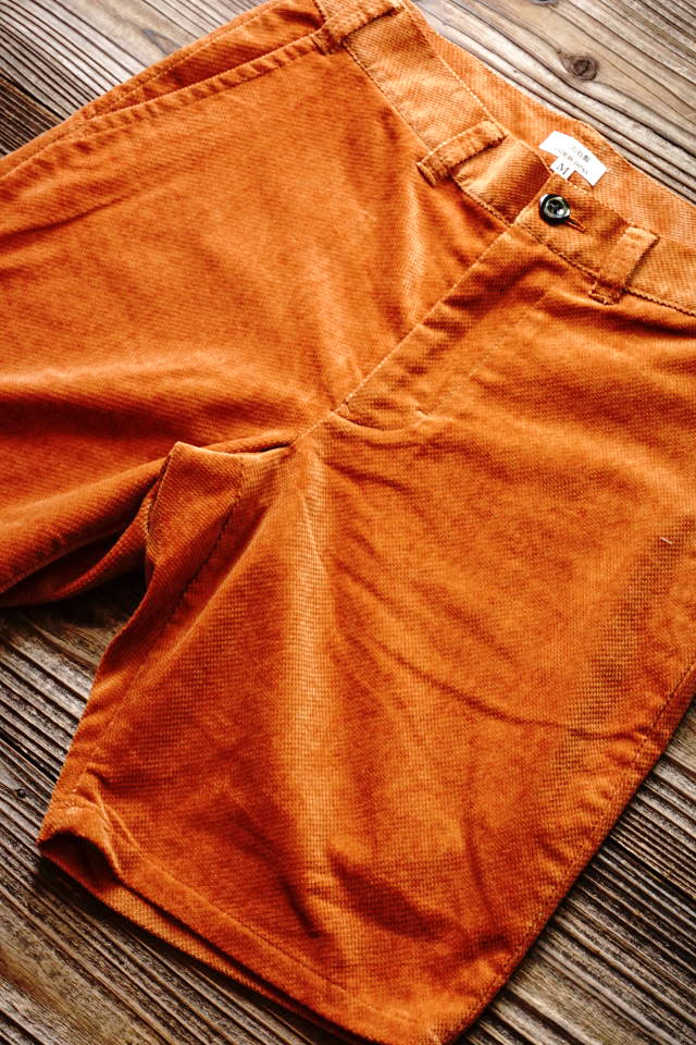 JANIS & Co. DOBBY CORD SHORTS ORANGE
