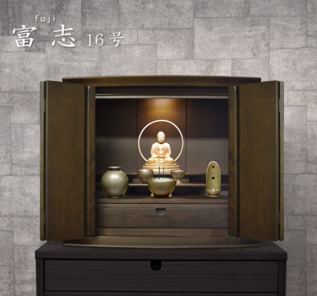 モダン上置仏壇 [ふじ] 16号 タモ材 = 存在感あるワイドな幅60cm、北海道産タモ無垢材のおすすめ上置き仏壇